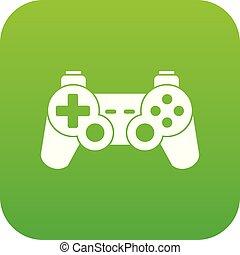 Game controller icon digital green