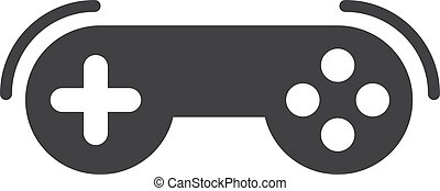 Game controller icon in black on a white background. Vector illustration