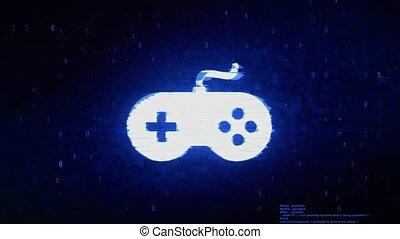 Game Controller joystick epad Game Symbol Abstract Digital Pixel Noise Glitch Error Video Damage Signal Loop 4K Animation.