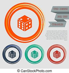 game cube icon on the red, blue, green, orange buttons for your website and design with space text. Vector