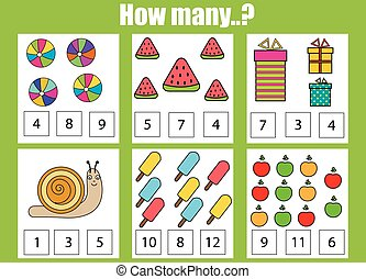 game., dénombrement, pédagogique, objets, tâche, comment, beaucoup, enfants