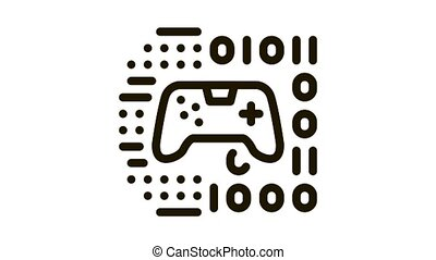 game development binary code Icon Animation. black game development binary code animated icon on white background