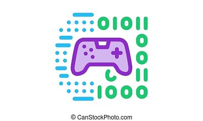 game development binary code Icon Animation. color game development binary code animated icon on white background