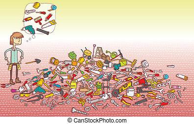 game., escondido, achar, objetos, solução, layer!, visual