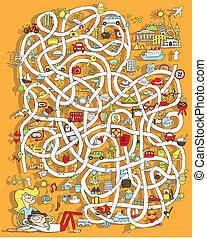 game., escondido, viagem, labirinto, solução, layer!
