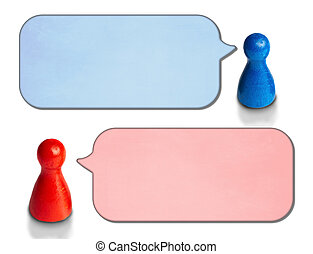 Game figures with angled speech bubbles isolated on white background. Concept for discussion, chat, communication.