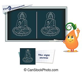 game find 9 differences  Buddha