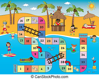 game for children: board game beach