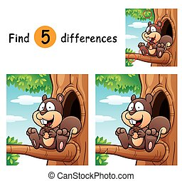 Game for children find differences - Squirrel
