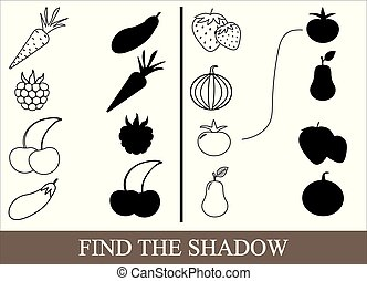 Game for children. Color objects of vegetables, berries and fruits and find the correct shadow. Vector illustration.