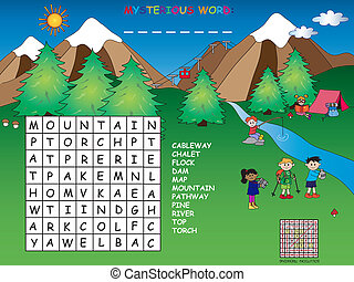 crossword - game for children: crossword in mountain