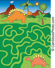 game for children: eay maze with dinosaurs