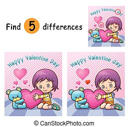 Game for children find differences - Girl
