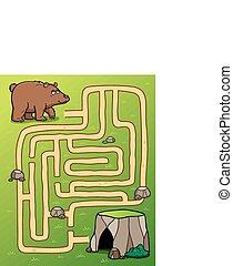 Game for children - Illustration of Education Maze Game bear...