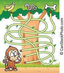 Game for children - Maze Game - Vector Illustration of...