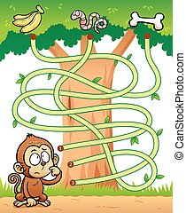 Game for children - Maze Game - Vector Illustration of...