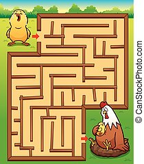 Game for children - Vector Illustration of Education Maze...