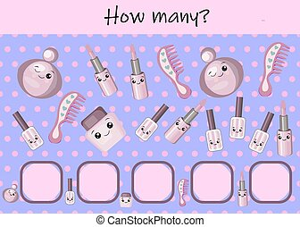 game for children with pictures. Children's activity sheet. Cartoon hairdressing equipment