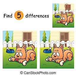 Vector Illustration of Game for children find differences - Dog