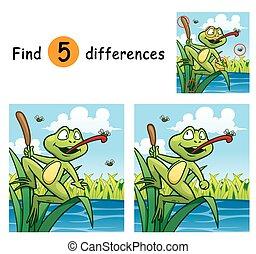 Vector Illustration of Game for children find differences - Frog