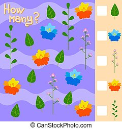 Game for preschool children. Count as many flowers and ...