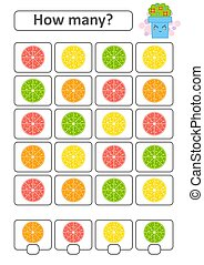 Game for preschool children. Count as many fruits in the picture and write down the result. Lemon, lime, orange, grapefruit. With a place for answers. Simple flat isolated vector illustration.