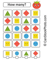Game for preschool children. Count as many fruits in the picture and write down the result. Triangle, rhombus, square, circle. With a place for answers. Simple flat isolated vector illustration.