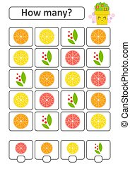 Game for preschool children. Count as many fruits in the picture and write down the result. With a place for answers. Simple flat isolated vector illustration.