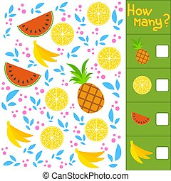 Game for preschool children. Count as many fruits in the ...