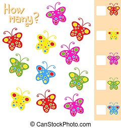 Game for preschool children. Count up as many butterflies in...