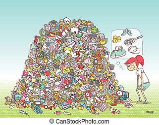 game., gömd, finna, objekt, lösning, layer!, visuell