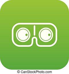 Game glasses icon digital green