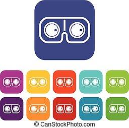 Game glasses icons set flat
