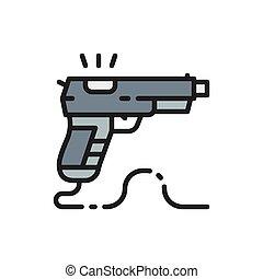 Game gun, pistol flat color line icon.
