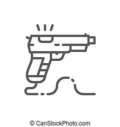 Game gun, pistol line icon.