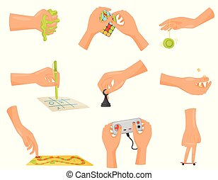 Game hand collection. Fun and playing conept. Deft hands. Home gambling. Entertainment and dexterity arms. Vector flat illustration.