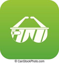 Game headset icon digital green