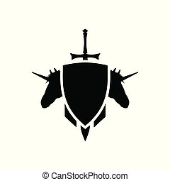 Game heraldic sign. Medieval coat of arms with a sword and unicorns. Black silhouette. Fantasy icon
