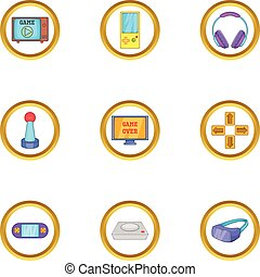 Game icon set, cartoon style