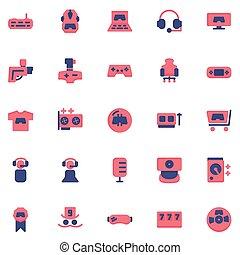 game icon set design flat style