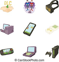 Game icons set, cartoon style