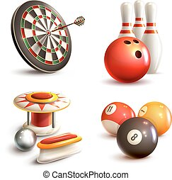 Game icons set - Game realistic icons set with bowling...