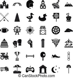 Game icons set, simple style