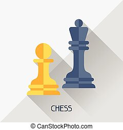 Game illustration with chess in flat design style.