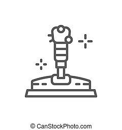 Game joystick, gamepad line icon.