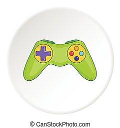 Game joystick icon, cartoon style