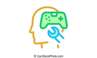 game joystick repair Icon Animation. color game joystick repair animated icon on white background