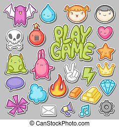 Game kawaii collection. Cute gaming design elements, objects and symbols