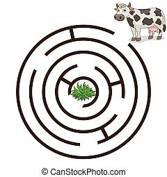 Game labyrinth find a way cow vector illustration - Game...