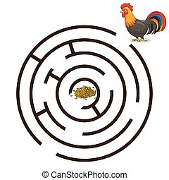 Game labyrinth find a way rooster vector - Game labyrinth...